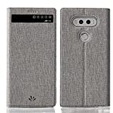 Feitenn Schutzhülle für LG V20, Premium-Flip-Leder, PU-Leder, mit Sichtfenster, Standfunktion, Kartenhalter, Magnetverschluss, TPU-Stoßdämpfer, schlanke Passform, Schutzhülle für LG V20 (grau)