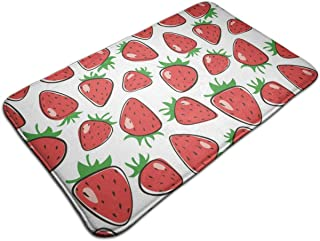 NINAINAI Entrance Door Mat Strawberry Non Slip Rubber Back Low Profile for Garage, Patio, High Traffic Area, Large 19.5 x 31.5 Inch