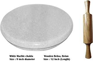 White Heavy Base Marble Chakla With Wooden Belan/Marble Roti Maker/Marble Rolling Board With Wooden Rolling Pin
