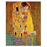 Legendarte Cuadro Lienzo, Impresión Digital - El Beso Gustav Klimt, cm. 80x100 - Decoración Pared