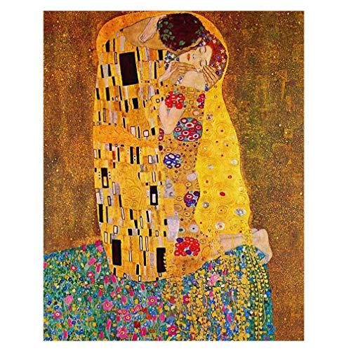 Legendarte Cuadro Lienzo, Impresión Digital - El Beso - Gustav Klimt cm. 50x70 - Decoración Pared