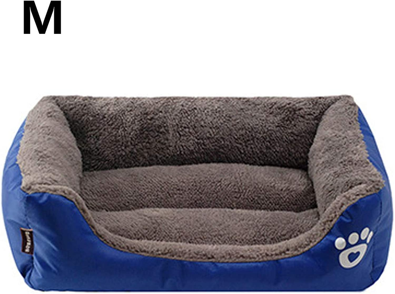 Cookisn Dog Beds Sofas Bed for Dog Cat Pet Warming Dog Footprint House Soft Nest Dog Baskets Fall and Winter Warm Kennel for Cat Puppy Royal bluee 58X45X14cm