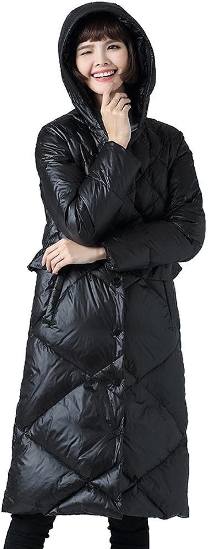 Fashion Women's Down Jacket Thickened Hooded Long Slim Coats Outwear Lightweight Warm Button Windproof Parkas