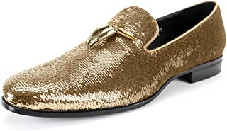 6759 Smoking Slipper with Shiny Sequins Smoker Loafer with Metal Horns Ornament