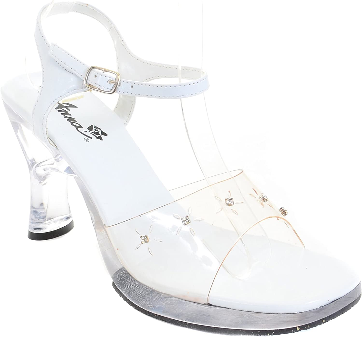 Fourever Funky Clear Rhinestone Heel White Sandal Women's Low Heels