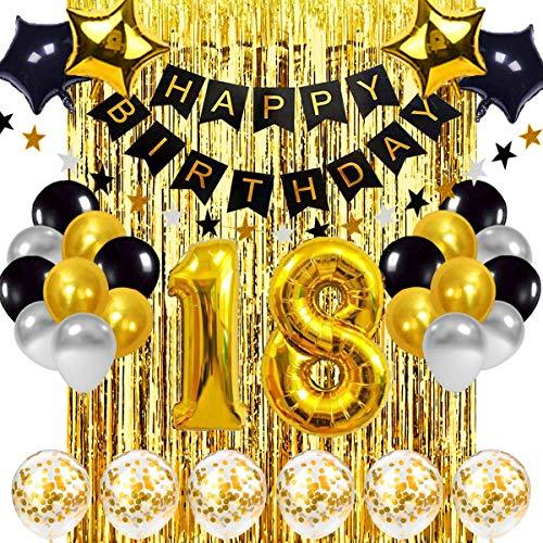 18 Anni Decorazioni Palloncini Compleanno Oro Nero,Addobbi per Feste di Compleanno per Ragazze Ragazzi,Kit Addobbi Compleanno Adulti, Striscione Buon Compleanno Palloncini in Lamina d'oro