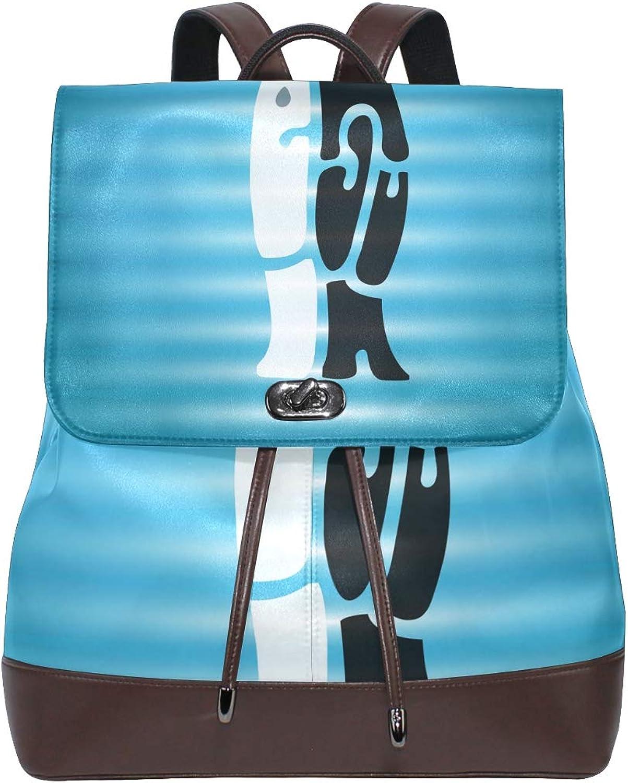 DEZIRO Leather Amazing Penguin Hug School Pack Backpacks Travel Bag
