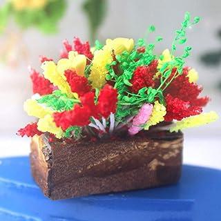 xxiaoTHAWxe 1/12 Miniature Realistic Clay Flower Pot DIY Doll House Fairy Garden Home Ornament - Best Educational Birthday Halloween for Boys Girls Friends Adults