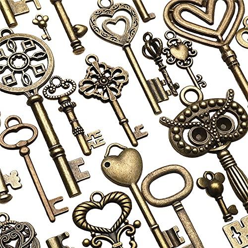 130pcs Antique Bronze Brass Vtg Ornate Skeleton Keys Lot Pendant Fancy Heart Pendants Key Gift