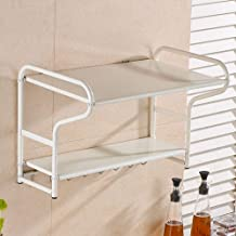 Kitchen Storage Rack Microwave Oven Shelf, Double, Wall-Mounted Spice Rack - with Solid Hook for Kitchen, Storage