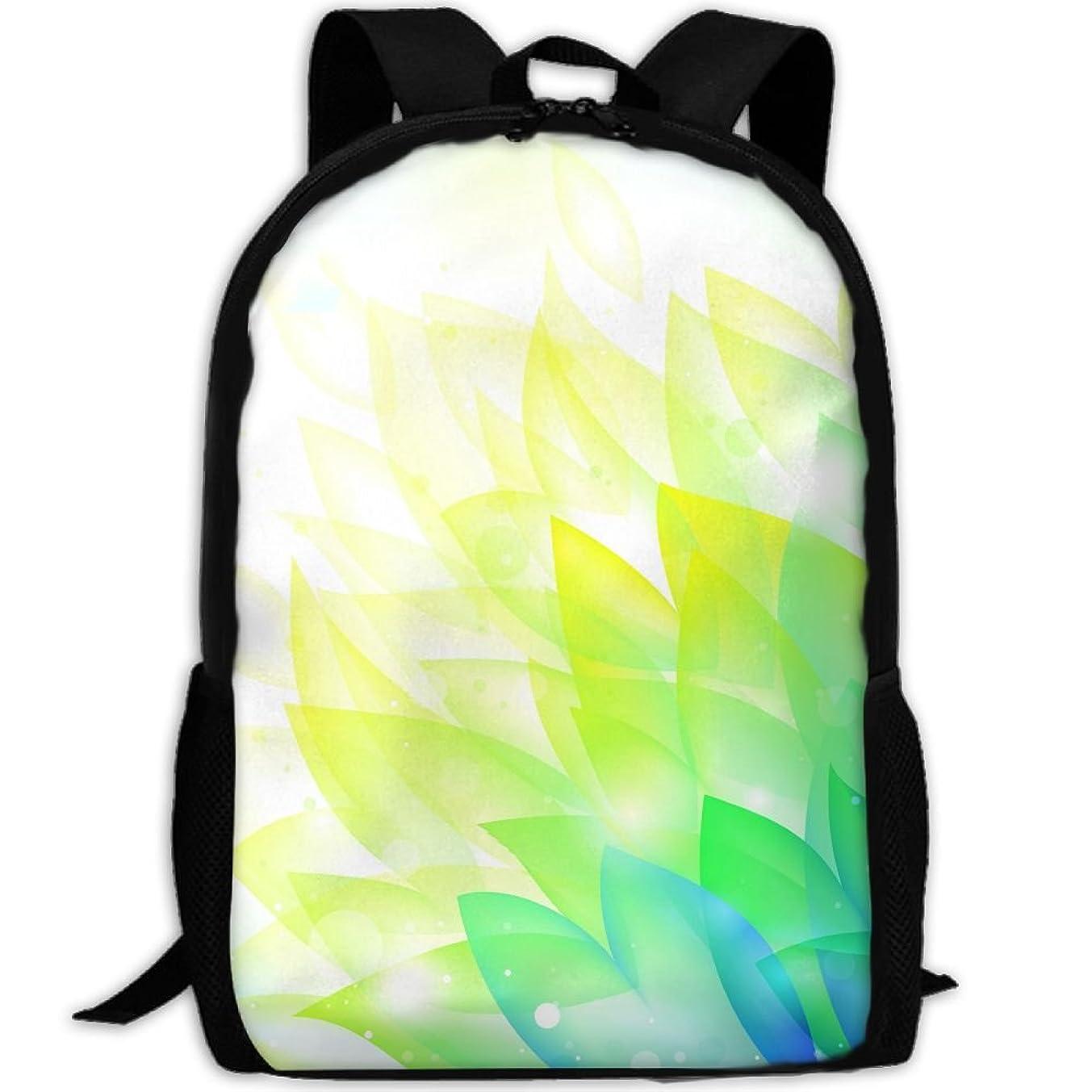 Webb Backpack Briefcase Laptop Travel Hiking School Bags Blue Yellow Leaves Stylish Daypacks Shoulder Bag