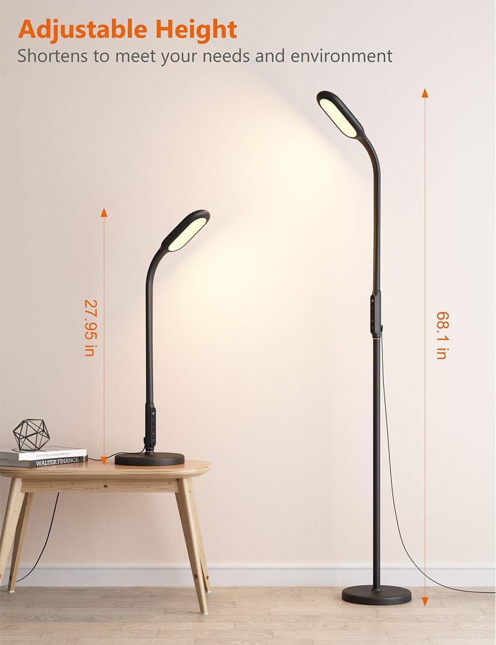 TaoTronics Stehlampe LED Dimmbar 12W Stehleuchte für Wohnzimmer Schlafzimmer, Hohe 30.000 Stunden Lebensdauer, 5 Helligkeitsstufen, 3 Farbtemperaturen, Touch-Bedienung, Flexibler Schwanenhals, Schwarz Schwarz