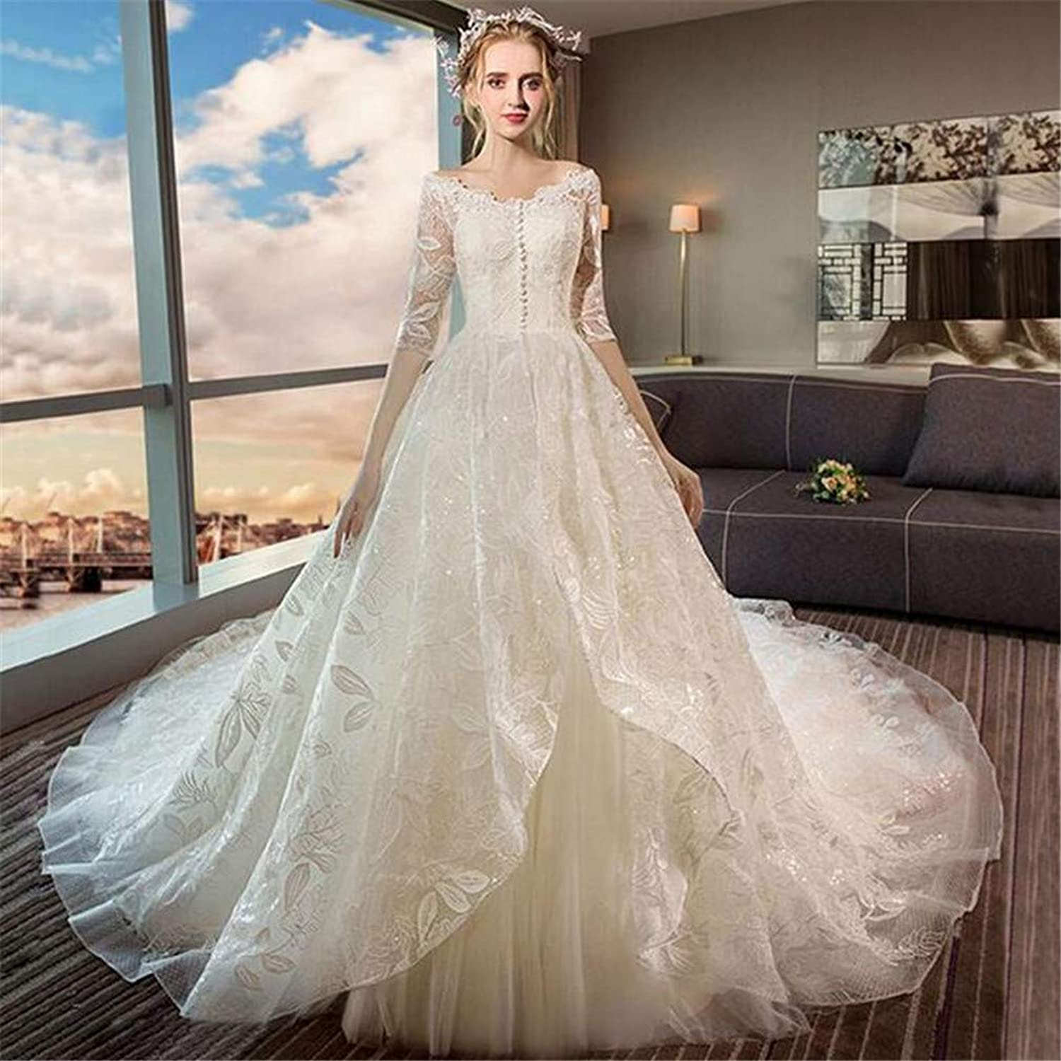 Wedding Dress Bride Gowns Ladies Sexy VNeck Elegant Long Tail Princess Dress Prom Party