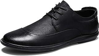 DADIJIER Oxfords Zapatos de Vestir para Hombres de Punta Redondos del Delantal del Delante del del Delante de Cuero de Gra...