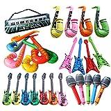 H87yC4ra Instrumento Musical Inflable De PVC, Bajo, Radio Grande, Saxofón, Teclado Electrónico, Micrófono Pequeño, Micrófono Grande, Cuerno, Laúd, Pequeño Tambor De Radio, Juguete Para Niños Laúd