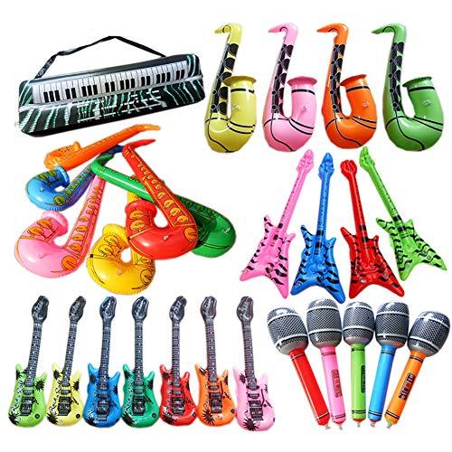 H87yC4ra Strumento musicale gonfiabile in PVC, basso, radio grande, sassofono, tastiera elettronica, microfono piccolo, microfono grande, corno, lud, piccolo tamburo radio, giocattolo per bambini