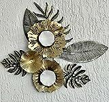 Mex 3D Wandbild aus Metall mit Blumen Metallbild Gartendeko Dekowandbild Wanddeko aus Metall Gold Schwarz Weiß 50 x 40cm