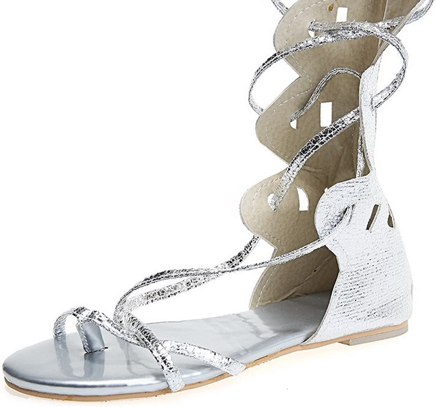 WeenFashion Women's Soft Material Lace Up Open Toe No Heel Solid Sandals