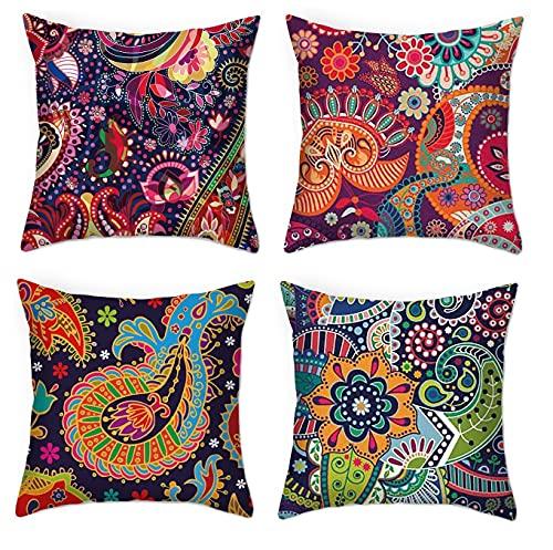 Juego de 4 fundas de cojín indias con estampado floral de cachemira, 45 x 45 cm, diseño verde y amarillo para decoración del hogar, cojines de sofá