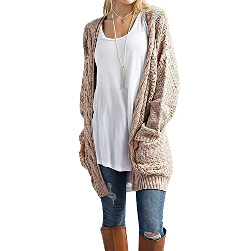 Imily Bela Women s Boho Long Sleeve Open Front Chunky Warm Cardigans  Pointelle Pullover Sweater Blouses b2bd907fc