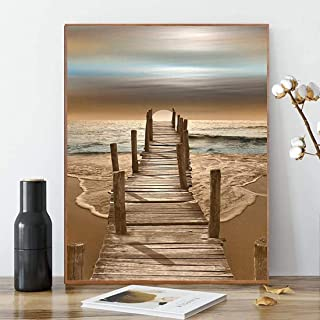 Karyees Beach Sunset Paint by Numbers Kits Beach Sunset DIY Painting by Numbers Beach Sunset DIY Canvas Painting by Numbers Acrylic Painting Home Wall Decor Paint by Number Kits Seaside16x20Inch