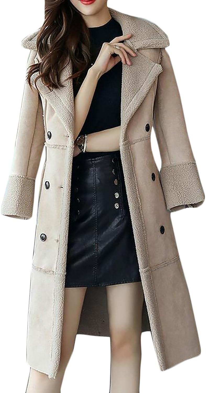 BLTRWomen Fashion Slim Fit Faux Suede Parkas Coat with Fur Lined