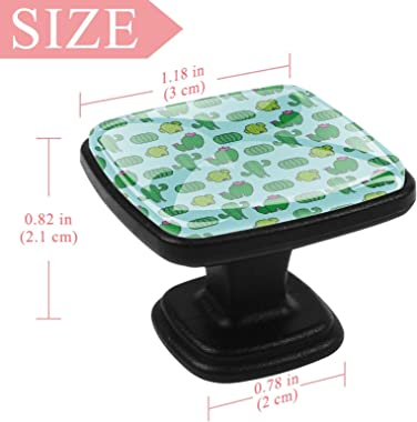 Square Drawer Handles (4 pcs) Hand Drawn Green Plants Cactus Pattern Size: 1.18x0.82x0.78 inch Dressing Table Furniture Kitch