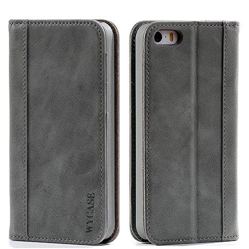WYCASE iPhone 5S Caso iPhone se Custodia in Pelle Portafoglio [Card Slots e Magnetico Closur] per Apple iPhone 5/5s/se dispositivi Grigio Verde
