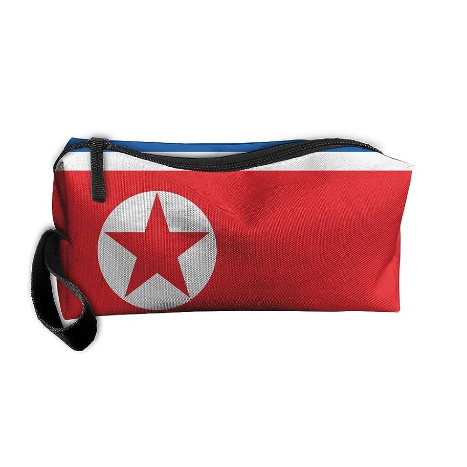 舌なカリング診療所北朝鮮の国旗 化粧ポーチ 収納ポーチ コスメポーチ ペンケース ペンポーチ 小物入れ トラベルポーチ 軽量 防水 携帯用