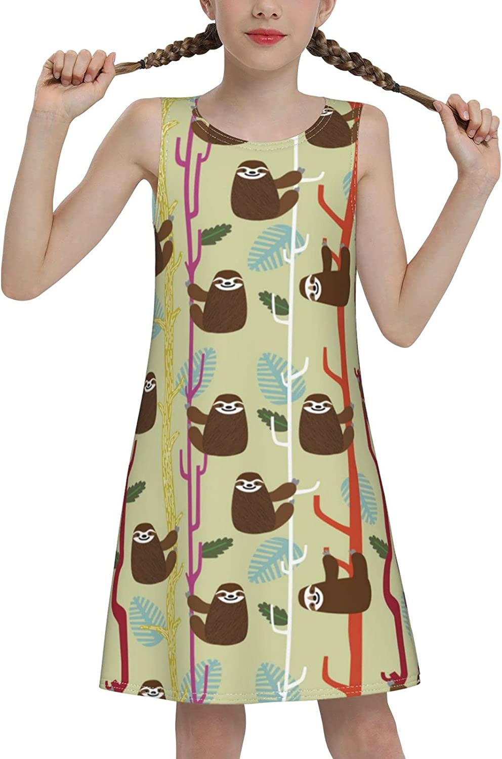 YhrYUGFgf Sloth Tree Sleeveless Dress for Girls Casual Printed A-Line Jumper Skirt