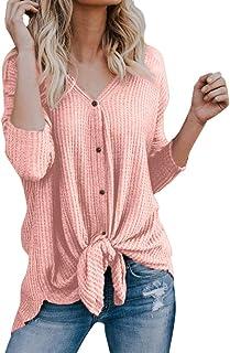 FM Transmitters Bravetoshop Women Henley V-Neck Plaid Tunic Long Sleeve Casual Shirt Flare Hem Top