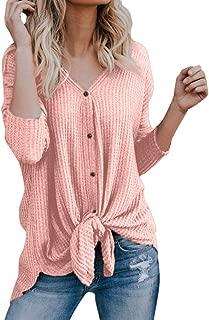 Waffle Knit Shirt Women,Loose Knit Tunic Blouse Tie Knot Henley Tops Bat Wing Plain Shirts
