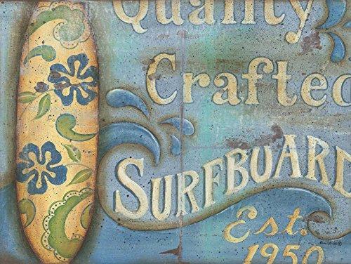 Feeling at home ESTRILLADO-LONA-Tabla de Surfboard-Lewis-Kim-Costa-Fine-Art-impresión-enmarcado-sobre-madera-bars-cm_14x20_in