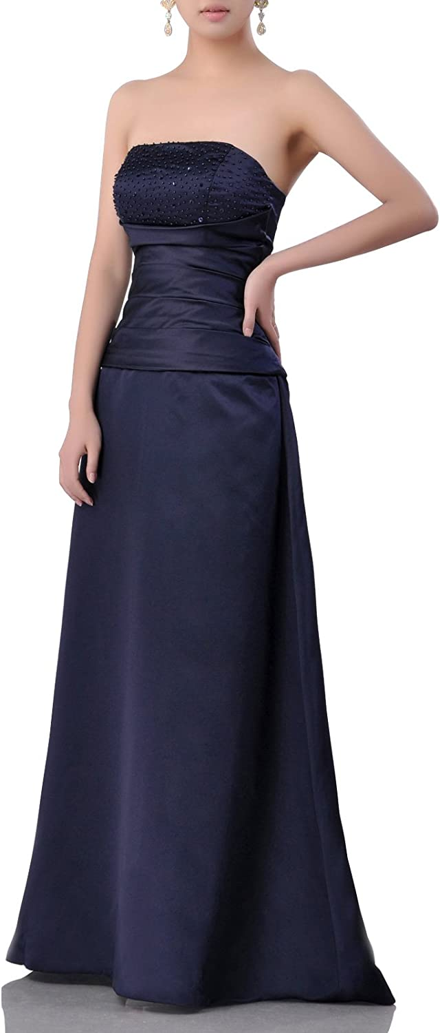 Adgoldna Natrual Satin Aline Beading Long Strapless Special Occasion Bridesmaid Dress Navy bluee