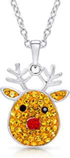 BLING BIJOUX Jewelry Crystal Reindeer Pendant Necklace for Christmas Winter Holidays Never Rust 925 Sterling Silver for Wo...