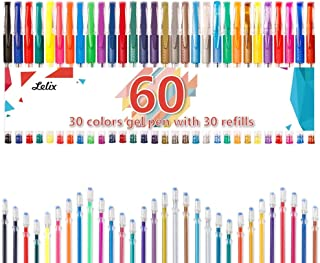 Gel Pens, Lelix 60 Pack Gel Pen Set, 30 Colors Gel Pen with 30 Refills for Kids Adult Coloring Books, Drawing, Doodling, Crafting, Journaling, Scrapbooking