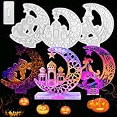 Kalolary 4Pcs Halloween Moon Silicone Molds, Crescents Moon Molds for Epoxy Resin Casting Mold with Stand, DIY Resin Home Table Decor Halloween Craft