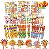JOYIN 36 PCS Thanksgiving Make-a-Turkey Sticker Crafts for Kids DIY Turkey Stickers with Different Designs Thanksgiving Activities Party Favors