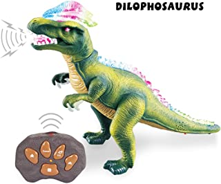 Remote Control Dinosaur for Kids with Light Up Eyes and Roaring Sound, Walking Dinosaur Robot Dinosaur, Big RC Dinosaur, Large Size 17 Inch Realistic Dilophosaurus, Toy for Boys Girls Ages 3+ - Green