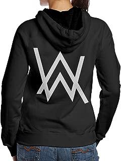 Women's Hooded Sweatshirt No Pockets Alan Walker Nordic Winter Personality Wild Lion Head Black