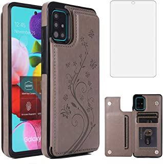 Phone Case for Samsung Galaxy A51 4G with Tempered Glass Screen Protector and Card Holder Wallet Cover Stand Flip Leather ...