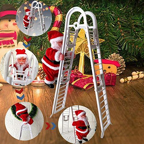 Delleu Santa Claus Escalada Escalera Eléctrica Escalera Decoración Navidad Felpa muñeca Juguete Colgante árbol Fiesta de Vacaciones Puerta de casa Pared Decoración