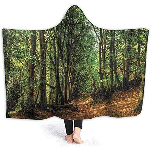 Duanrest draagbare deken met capuchon Woodland Pathway Hood Poncho Cape Grappige 3D-print mannen vrouwen gezellig met capuchon