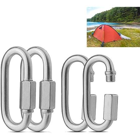 WINSTON-UK in acciaio 304 6 pezzi escursionismo pesca 6 moschettoni con clip a moschettone campeggio viaggi per esterni