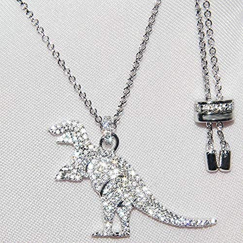 Yiffshunl Necklace Real 925 Sterling Silver Yellow Gold Color Big Green Dinosaur Pendant Necklace Charm Dino Animal Women Monaco Jewelry Necklace Gift