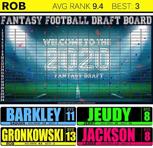 Fantasy Football Draft Board 2020 [ 10 Team, 12 Team,14 Team Boards ] (14 Team 24 Round)