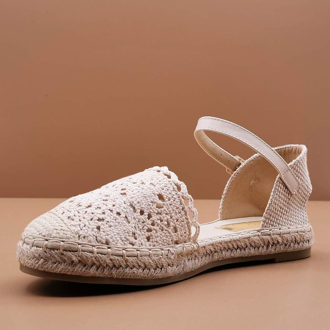 Chaussure Mode Sandale Espadrille Plat Boh/ème Mariage c/ér/émonie Femme Dentelle Corde avec de la Paille Talon Plat 2.5 CM Angkorly