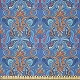 ABAKUHAUS Blau Stoff als Meterware, Abstrakte Florale