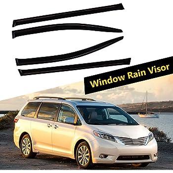 ECCPP Ventvisor Side Window Deflector Dark Smoke, 4-Piece Fits for Mini Cargo Van 2012-2016 Toyota Sienna,Also fits for 2011-2017 Toyota Sienna Mini Passenger Van Window Visor Windows Rain Guards