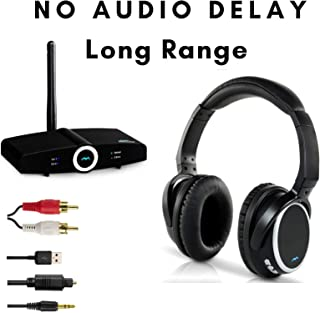 Wireless Headphones for TV Watching w/Bluetooth Transmitter, 160Ft Long Range Bluetooth, Hi Fi & No Delay, Comfortable Over Ear Headset, Optical RCA AUX 3.5mm -Miccus Home RTX & Stealth Headphones